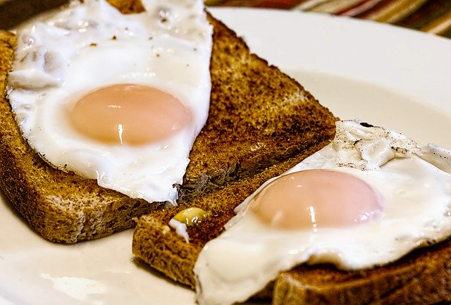 fried eggs and bread